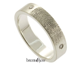 Two Diamond Handcrafted  Fingerprint Wedding Band in Sterling Silver