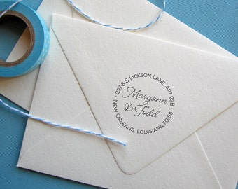 Circle return address stamp for weddings, Self Inking or wood mounted rubber stamp