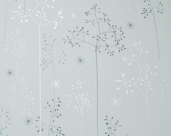 SAMPLE // Blue Off White Silver Floral Tonal Botanical Grasses Wallpaper // Meadow Grass in 'Blue & Silver' by Hannah Nunn