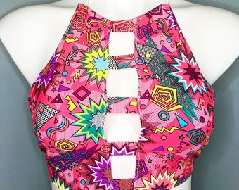 Sonic vibe rave top, swim top, rave outfit, edc outfit, halter top, festival top, holographic top, festival clothing, rave wear