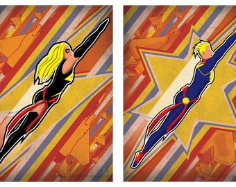 The Sky's No Limit/Fly Fight Win - Ms. Marvel/Captain Marvel - Art Print - poster, marvel, comics, superhero, avengers