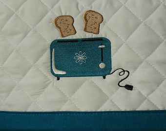 Ships Next Day!  Teal Accents on Light Ash Gray 4 Slice Toaster Cover Embroidered Design Please see Dimensions in Listing