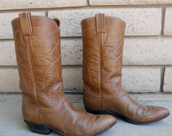 Vintage Mocha Brown Tony Lama Cowboy Boots Ladies Size 6 NARROW