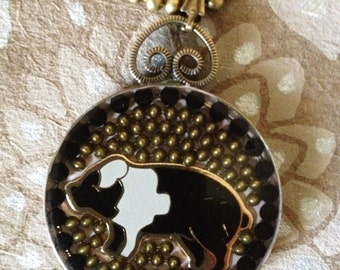 "Pig pendant with 20"" ball chain necklace in resin"