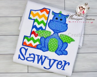 Dragon Birthday Shirt, Dragon Shirt, Embroidered Name, 1 Year Old Dragon Party Outfit, Toddler Boy Dragon Outfit, Personalized, One Year Old