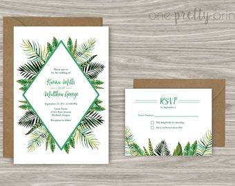 Palm Leaves Wedding Invitation Set