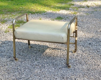 Vintage Pearl Wick Leg Lounger Adjustable Rolling Foot Stool Cream Vinyl Gold Tone Metal Frame Plastic Wheels PanchosPorch