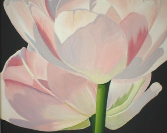 Tulip Painting - Double Pink Tulips Macro Botanical Floral Wall Art Country Home Decor