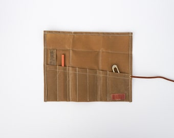 Waxed Canvas Pen/Tool Roll, Leather Pencil Kit, Pencil Case