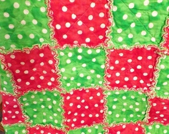 On Sale Christmas Rag Quilt - Red and Green - Fun Polka Dots - Lap Quilt - Handmade