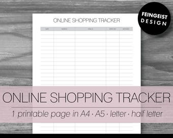 ONLINE SHOPPING TRACKER. Printable Pages/Planner Inserts. 4 Sizes. Instant Download. Letter - Half Letter - A4 - A5