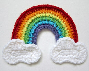 "Large 6.5"" Red RAINBOW with CLOUDS Crochet Applique"