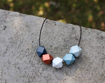 Geometric Wood Necklace // Navy Copper Faceted Wooden Bead Necklace // Hand Painted// Hedron Necklace - Navy, Copper, White, Blue