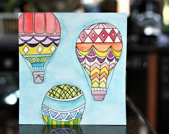 Watercolor Painting - Hot Air Balloons