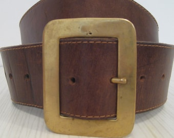 "vtg 70's/60s 50s rockabilly western mod tooled tan leather belt brass large square buckle 24.5""- 35"""