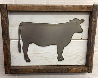 Framed Cow Picture