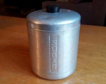 Vintage Italian Brushed Aluminum Sugar Canister