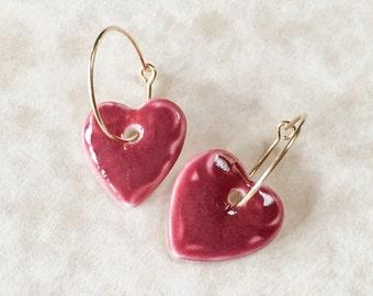Wine Red Heart Porcelain Earrings, Valentine's Day Earrings, Gift for Valentine, Handcrafted Porcelain Earrings, Heart Dangle Earrings