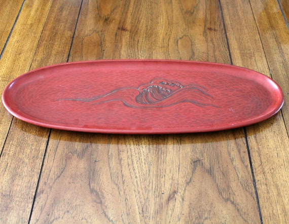 Vintage 1960s Lacquerware Red Oval Tray Centerpiece | Ocean Waves | Gift From Yokosuka Mayor 1963
