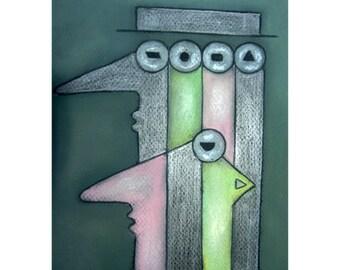 "Original artwork ""Below four eyes / under four-eyes"" by the artist Nina Boos"
