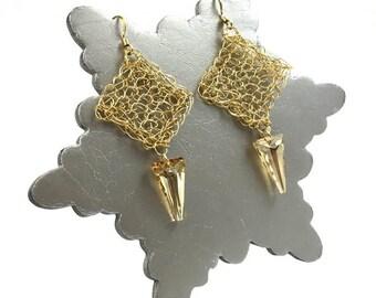 Gold Stiletto Earrings - Gold Handmade Earrings - Gold Swarovski Crystal Earrings - Gold Dangle Earrings | Little Black Dress Range