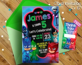 PJ Masks Invitation, Pj Masks Birthday Invitation, PJ Masks, PJ Masks Invitations, Pj Masks Birthday Party, Pj Masks kids, Card Pj Masks