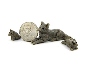 Mother Wolf and Two Cubs Set, Speckled Gray Wolves, Miniature Stone Look Figurines, Polymer Clay