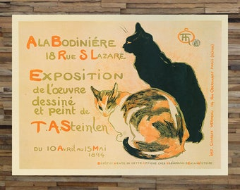 Cats Steinlen Vintage Animal Art, Vintage Cat Print, Vintage Ad,  Vintage Art,  Giclee Art Print, fine Art Reproduction