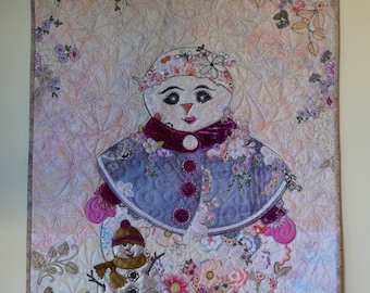 COLLAGE KIT with PATTERN for Mrs. Frosty and Baby for Quilted Wall hanging Snowman Holiday Christmas Wool Silver Fabric Flowers