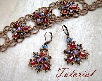 Tatting pattern earrings bracelet Frivolite tutorial jewelry Lace filigree jewelry Beaded instruction tatting  beading earrings