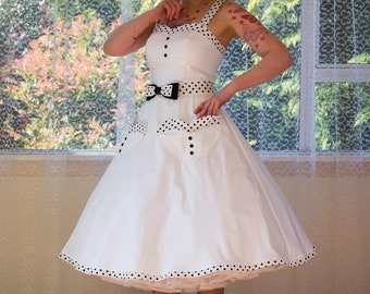 1950s Rockabilly 'Elise' Wedding Dress, with Sweetheart Neckline, Polka Dot Trim, Belt & Organza Petticoat- Any Colour - Custom Made to fit