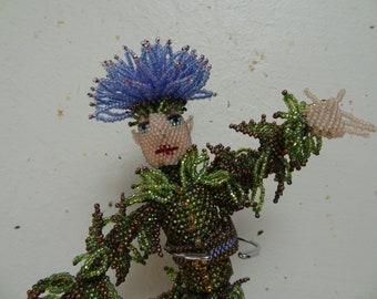 Dancing Thistle Elf, Bead Woven Figure