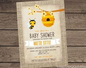Bumble Bee Baby Shower Invitation, Bee Burlap Yellow baby Shower Invite, Beehive, Shabby Chic, _151