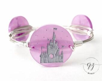 Disney Castle Inspired Disc Bangle, Bangle, Bracelet, Wire Bangle, Disney