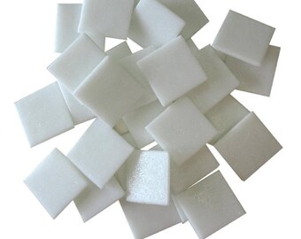 25 ct - 3/4 inch WHITE Vitreous Mosaic Tiles - DTI