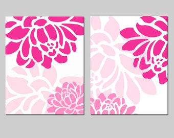 Floral Art Duo - Set of Two 8x10 Prints - Baby Girl Nursery Art - CHOOSE YOUR COLORS - Shown in Hot Pink, Pink, and White
