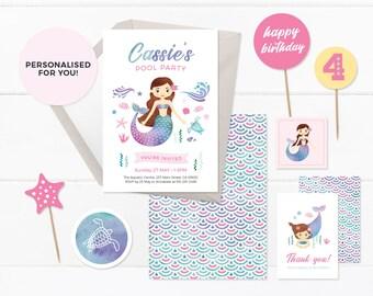 Mermaid invitations set, Printable Mermaid invites, Mermaid party, Mermaid birthday invitations, Pool party invitation set, Under the sea