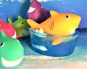 Shark Soap-Smiling Shark-Kids Soap-Soap with Toy-Birthday Party Favor-Sea Soap-Ocean Soap-Fish Soap