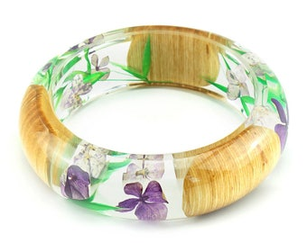 "kenzeaye ""Joie De Vivre"" Wooden Flower Bangle - Resin Fashion Jewelry"