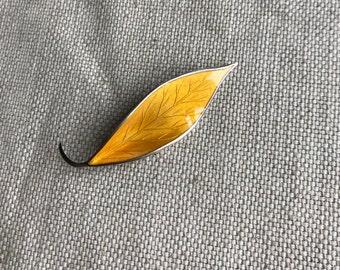 David Andersen Enamel Leaf Brooch
