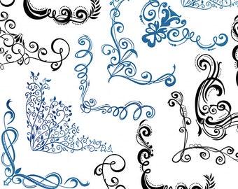 Elegant Swirl Corner Flourishes, Ornate Frame Clip Art Images + PhotoShop Brush Silhouette, Romantic Corner ClipArt, Card Making