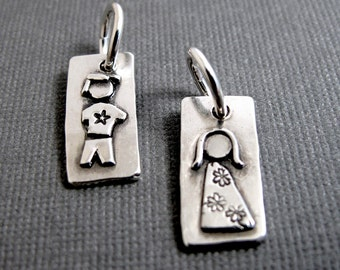 Personalized Mother's Figure Charm - Sterling Silver Family Charm