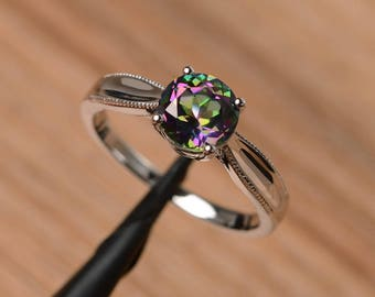solitaire ring mystic topaz ring engagement ring sterling silver ring round cut rainbow gemstone ring November birthstone
