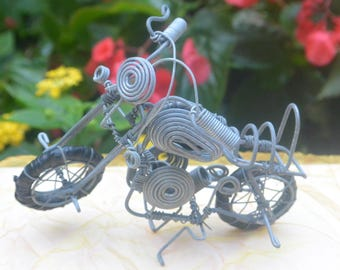 SALE! Harley Davidson Motorcycle Model - Posable, Metal Sculpture - Vintage - Fabulous!