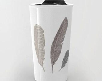Feathers Travel Mug - Coffee Mug - Boho Travel Mug - Gift For Women - Aldari Home
