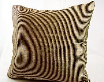 Dark golden striped decorative pillows,Dark gold throw pillows, Gold couch pillows, Gold decor pillows, Brown and gold throw pillows