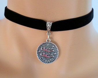 velvet choker, gemini choker, gemini necklace, stretch ribbon, black velvet, zodiac