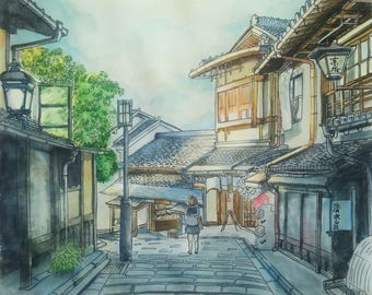 Japan street watercolor