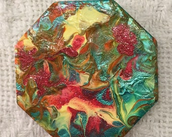 """Fiesta Collection - Original, Custom, Abstract, Hand-Painted Octagon Tile Magnet 2.5"""" x 2.5"""""""