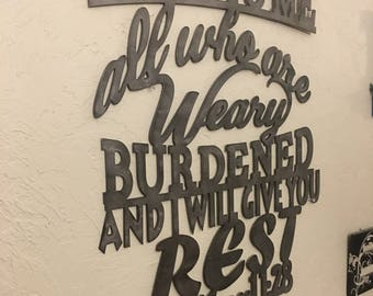 Metal scripture wall art, Matthew 11:28